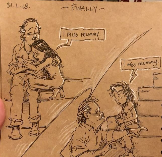 This Animator Illustrates His Life With Two Kids After His Wife's Heartbreaking Death