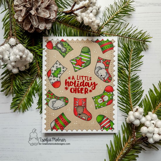 A Little Holiday Cheer | Christmas Stocking Card by Zsofia Molnar | Holiday Stockings and Ornamental Wishes Stamp Sets by Newton's Nook Designs #newtonsnook #handmade