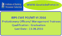 IBPS CWE PO/MT-VI 2016 Notification