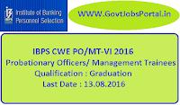 IBPS CWE PO/MT-VI 2016 Notification