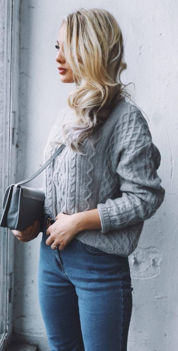 ootd: knit + jeans + bag
