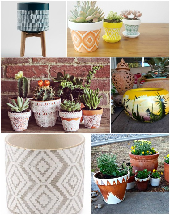 A collection of boho planters to buy or DIY