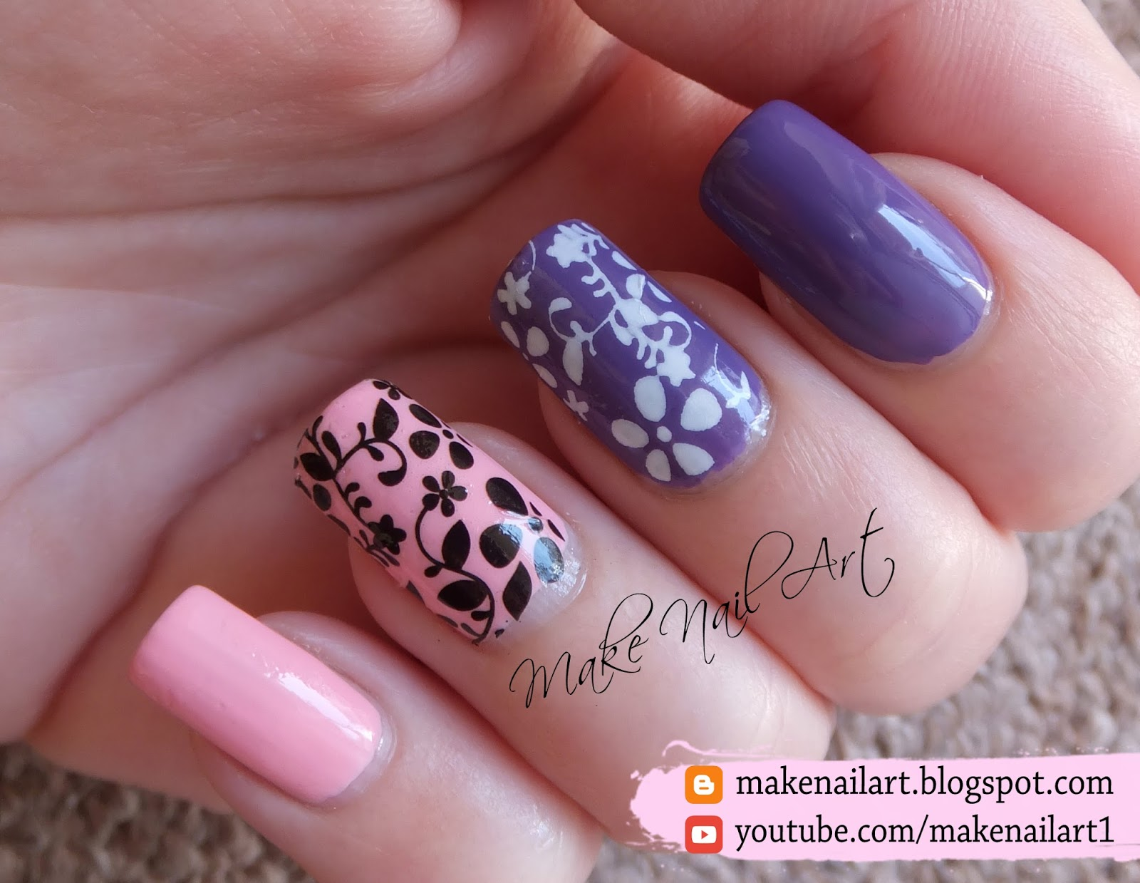 Make nail art floral water decals nail art design tutorial you can watch video tutorial here prinsesfo Images