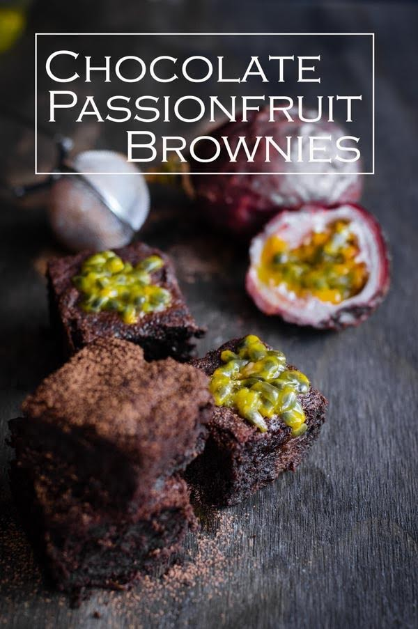 Chocolate Passion fruit Brownie with crunchy bits of passionfruit