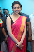 Kajal Aggarwal in Red Saree Sleeveless Black Blouse Choli at Santosham awards 2017 curtain raiser press meet 02.08.2017 016.JPG