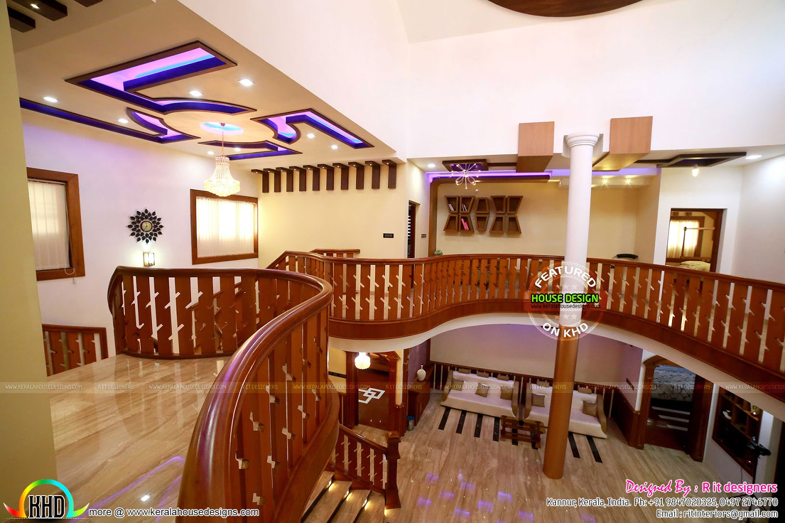 Finished home floor plan and interiors kerala home for Balcony ki design