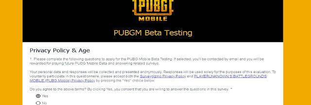 PUBGM Beta Testing Programm