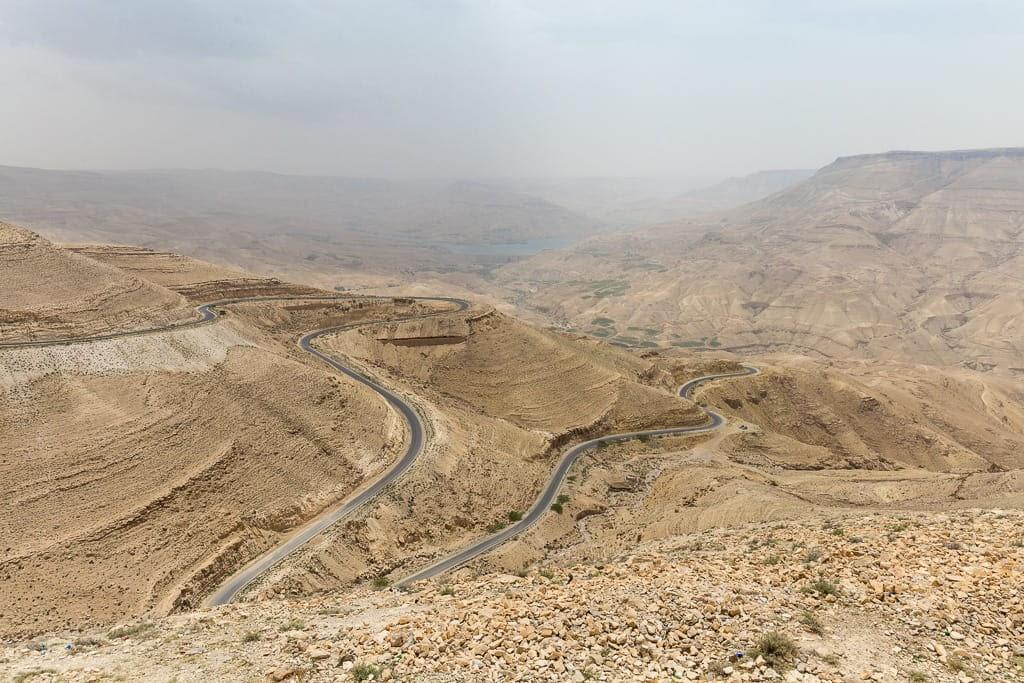 Vistas de la carretera desde el mirador de la Carretera del Rey, Jordania