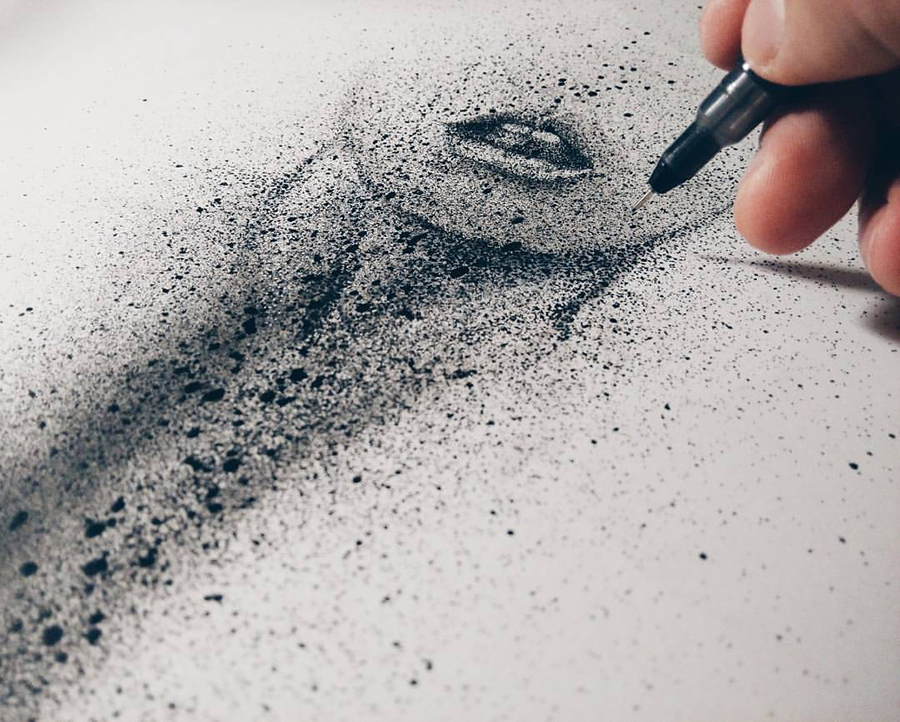 01-Black-Cloud-Portraits-Stippling-Drawings-and-Spray-Paint-www-designstack-co