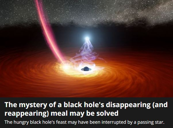The mystery of a black hole's disappearing and reappearing.
