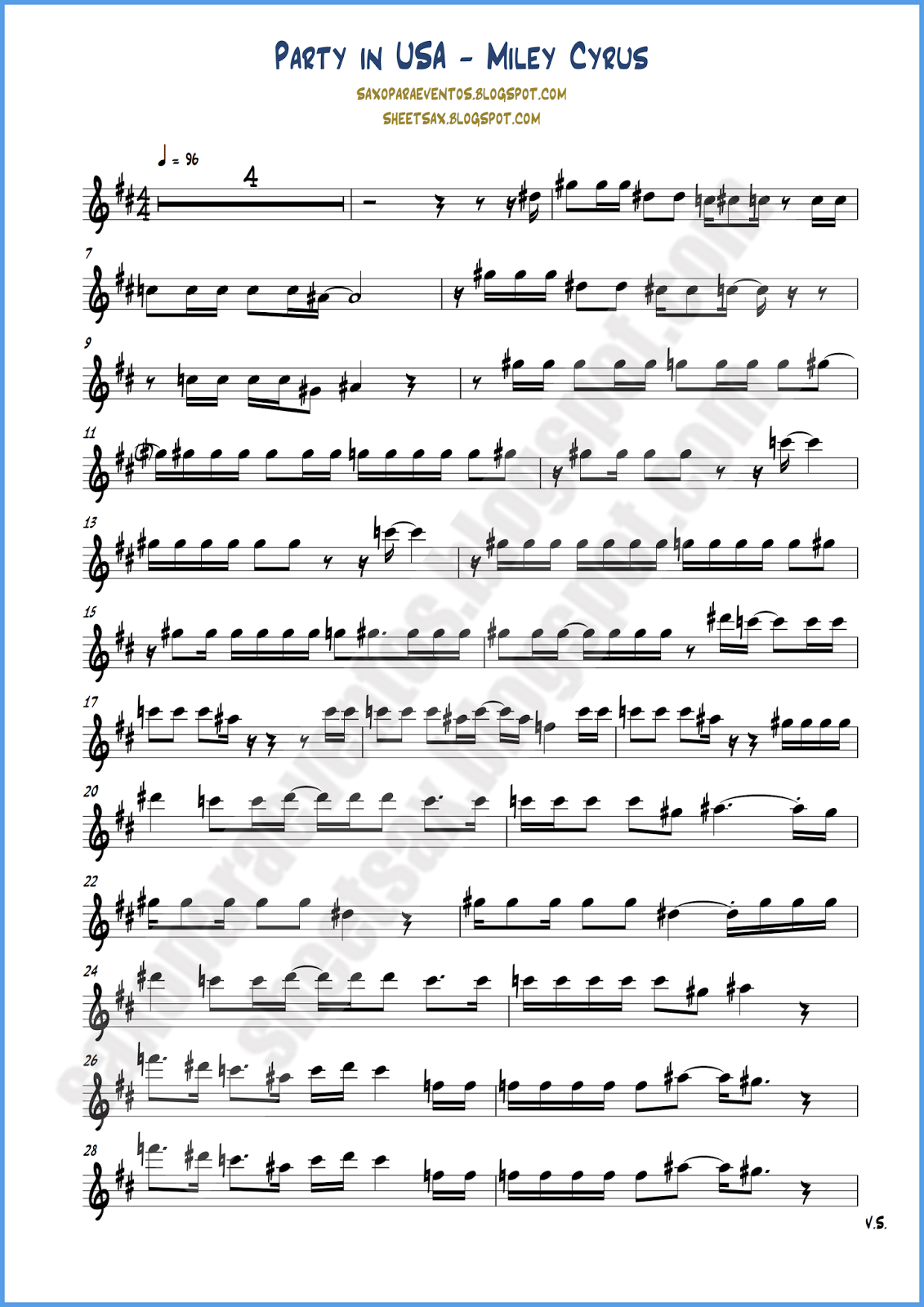 Sheet Music And Play Along Of Party In The Usa By Miley