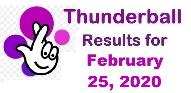 Thunderball Results for Tuesday, February 25, 2020