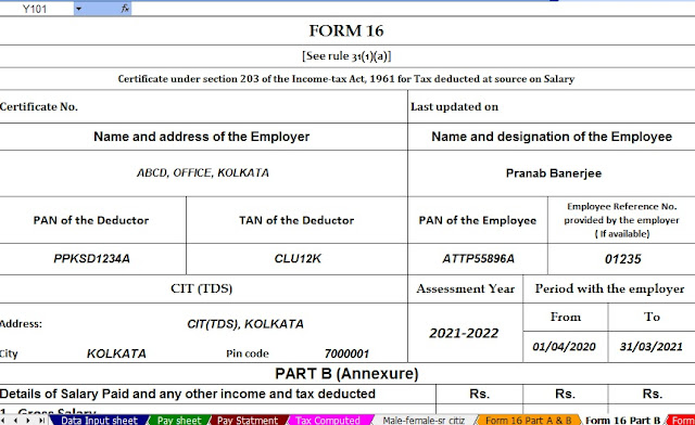 Income Tax Calculator All in One for Non-Govt Employees for the f.Y.2020-21