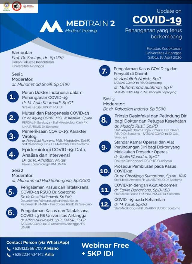 Free SKP IDI+sertifikat: Webinar Medical Training 2 dari Fakultas Kedokteran Universitas Airlangga