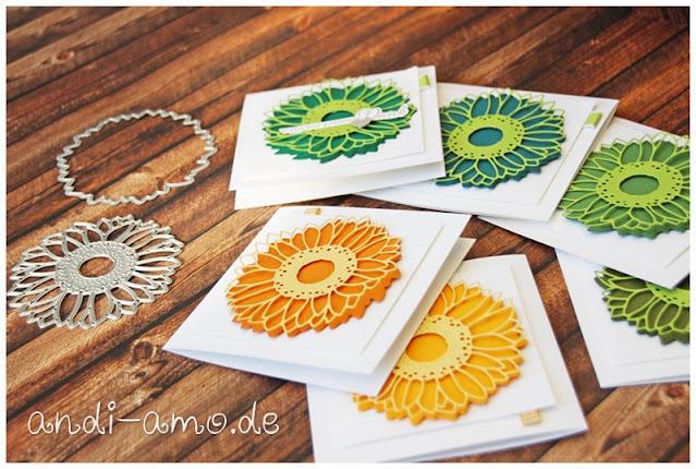 Quadratische Karten mit den Stanzformen Sonnenblumen
