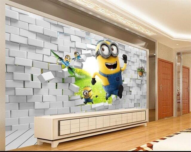tranh tường 3d phòng khách bình dương minion