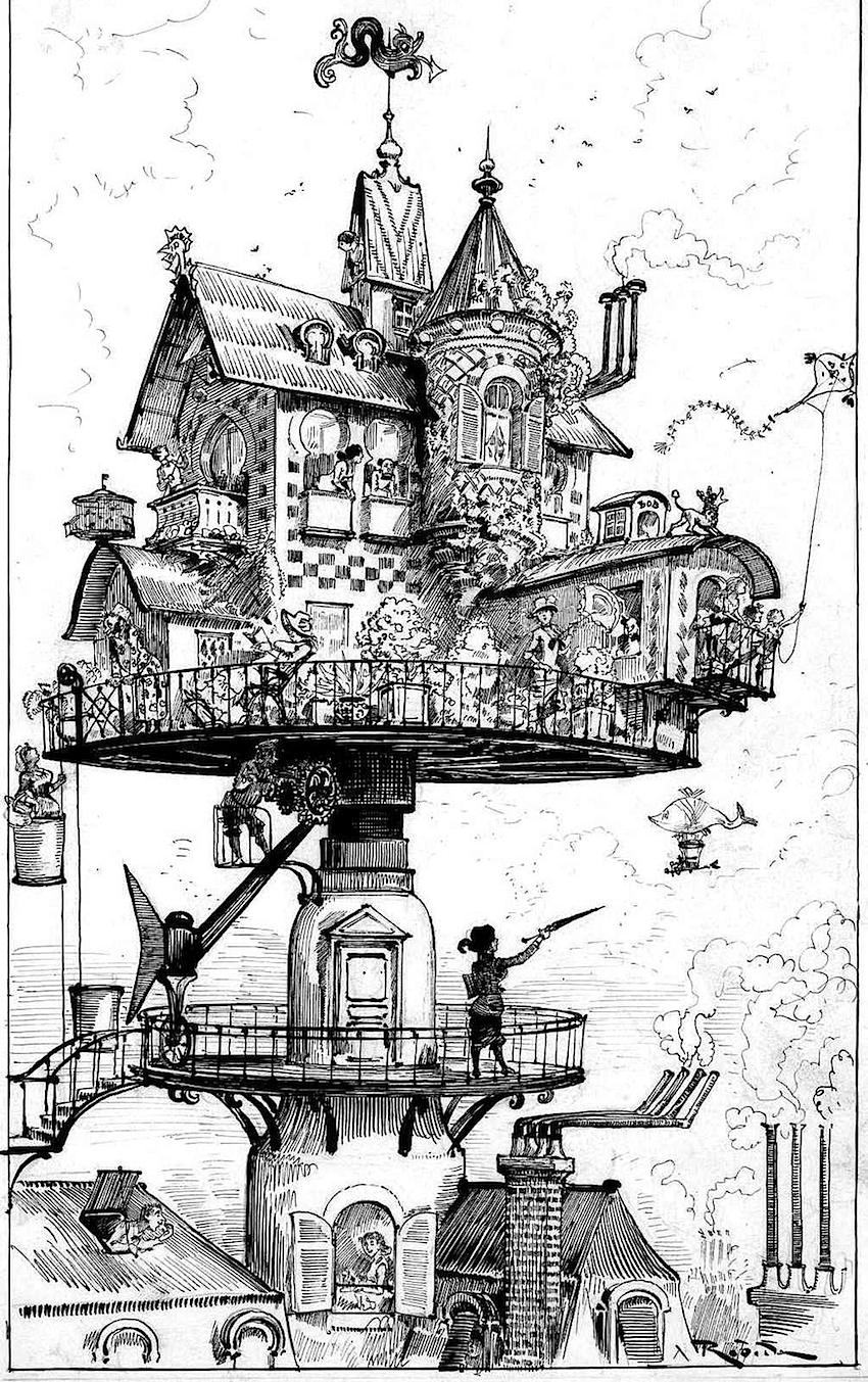 A drawing of an Albert Robida 1883 home of the future