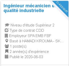 SPA EMB FBF Ingénieur mécanicien en qualité industrielle HAMADI KROUMA