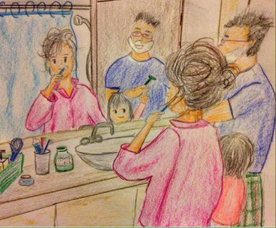 family life bathroom drawing momlife sketch