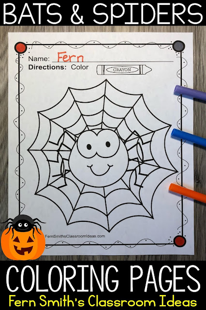 Click Here To Download This Bats and Spiders Coloring Pages Resource Today!