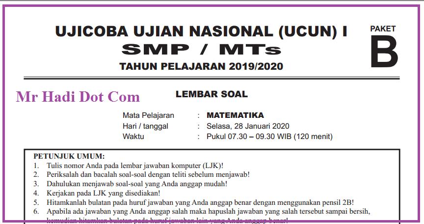 Bedah Kisi-kisi Ujian Nasional Matematika SMP Tahun 2019/2020