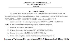 Laporan Tahunan Perpustakaan MTs N Wonosobo 2016 / 2017