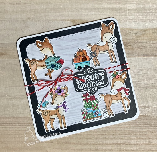 Season's Greetings by Debbie features Seasonal Wishes, Festive Fawns, Harvest Tails, Woodland Picnic, Woodland Spring, and Frames Squared by Newton's Nook Designs; #newtonsnook, #cardmaking, #christmas, #fawns