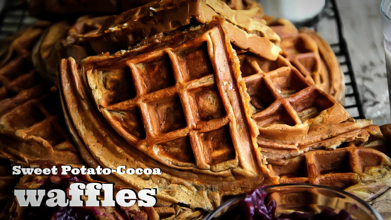 Sweet Potato-Cocoa Waffles with a video
