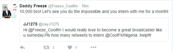 Freeze says Twitter user must get 10k retweets to do IT under him