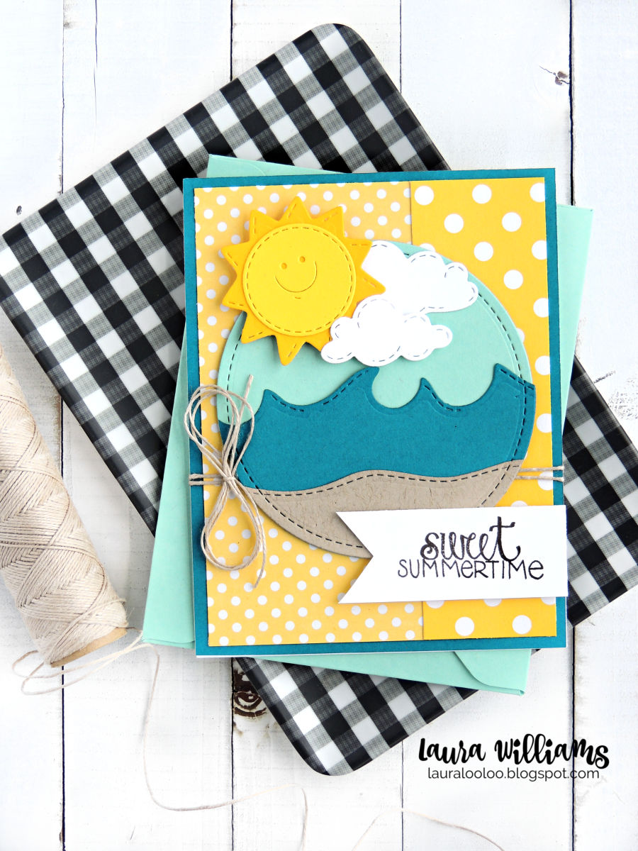Sweet Summertime Card with Impression Obsession Sunny Face Die #diecutting #papercrafting #cardmaking