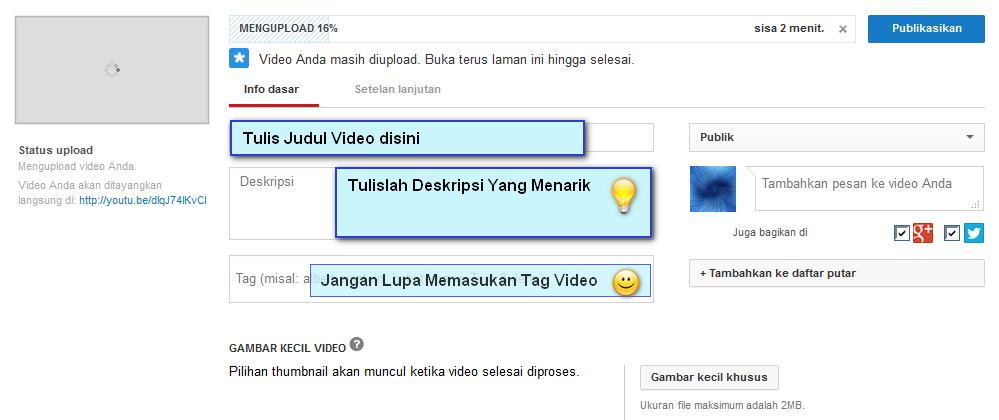 cara upload video ke youtube dari android