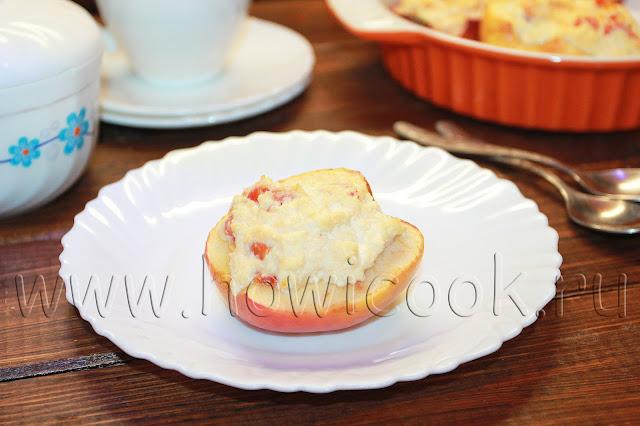 рецепт запеченных яблок творогом и курагой