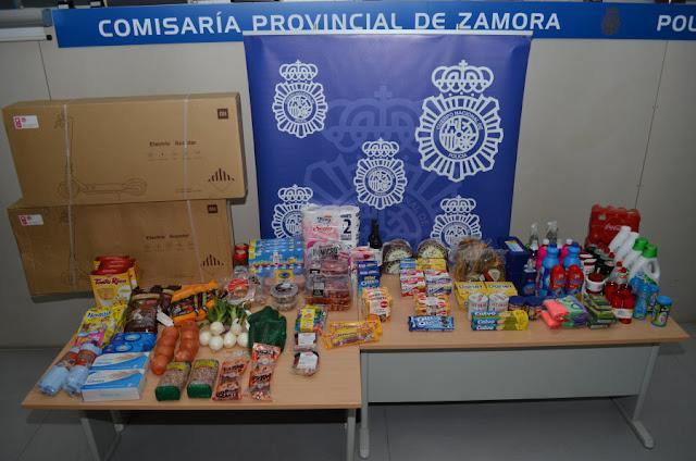 Tres personas detenidas en Zamora por el robo dos patinetes eléctricos y multitud de productos alimentación e higiene