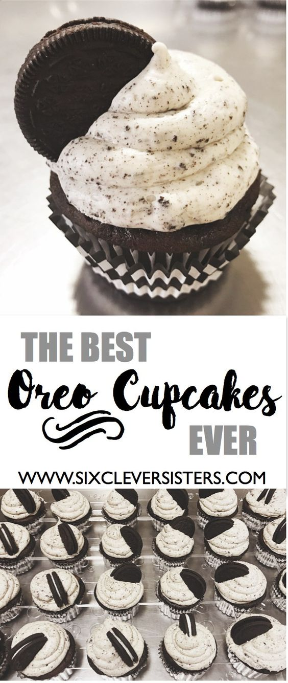 Seriously. The. Best. Ever. THESE OREO CUPCAKES HAVE A FILLING AND FROSTING THAT TASTES JUST LIKE THE REAL OREO CREAM. DELICIOUS. This is a favorite cupcake recipe among all of us sisters. People