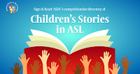 Multicultural children's hands reaching up to open book with the words Children's Stories in ASL above book