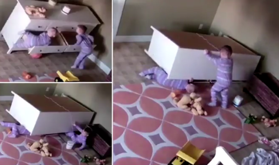 Touching video shows toddler rescuing twin