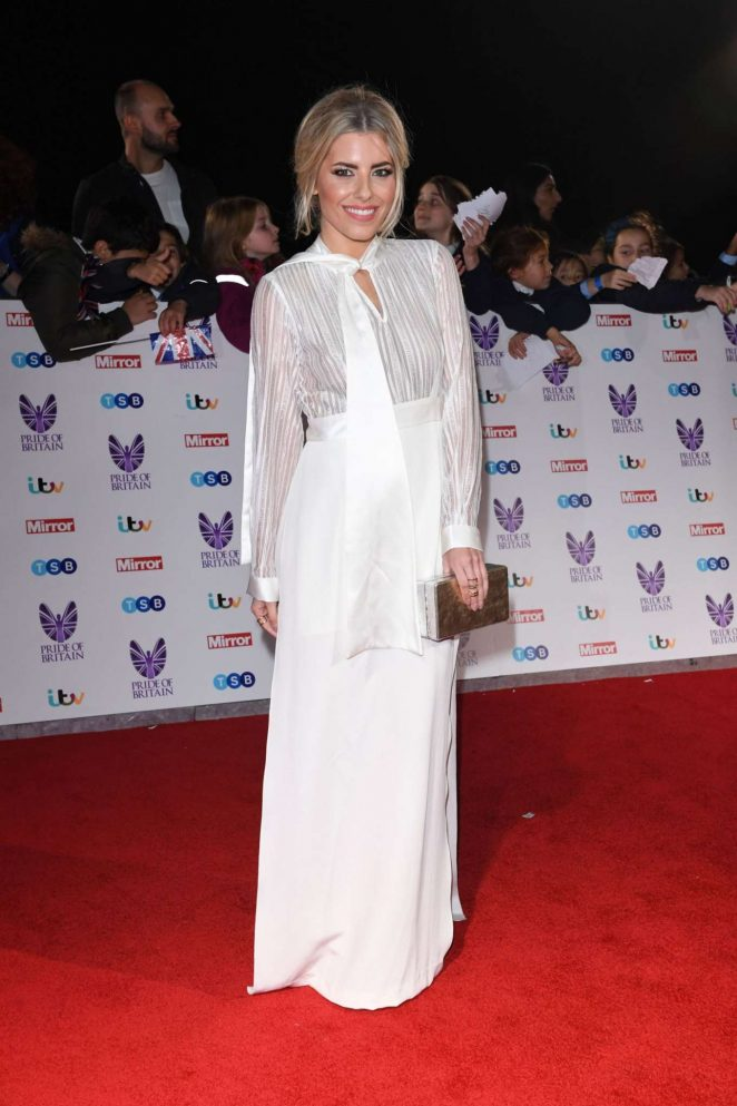 Mollie King Stills In White Dress At Britain Awards