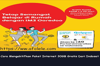 Paket internet gratis 30 GB Indosat