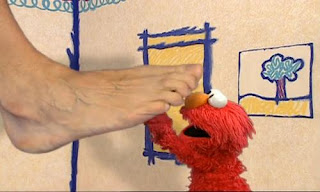 Elmo talks to Big Foot about feet. Big Foot then laughs when Elmo scratching his sole. Sesame Street Elmo's World Feet Interview.