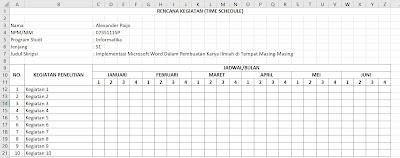 Format Tabel Rencana Kegiatan