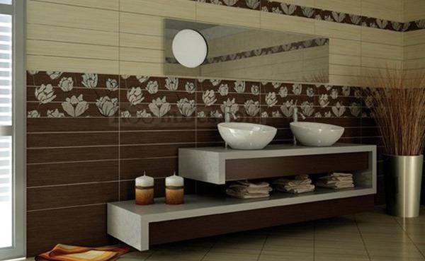 Kamar Mandi Indah dengan Dinding Dekoratif