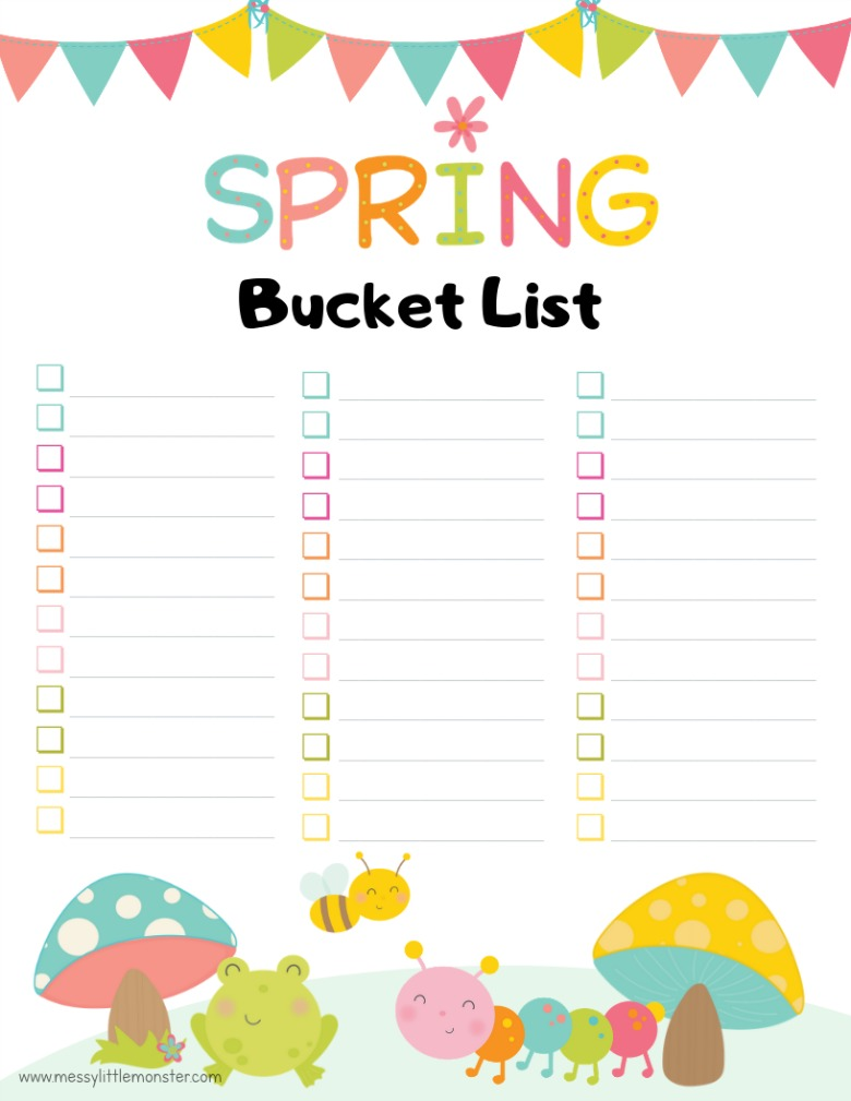printable blank spring bucket list