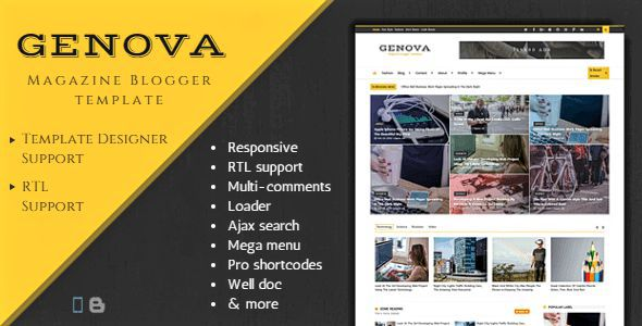 Genova is clean, responsive news and magazine style blogger template that comes with many features such as powerful layout, flexible widgets, RTL support, sitemap widgets, custom heading and subtitle and more