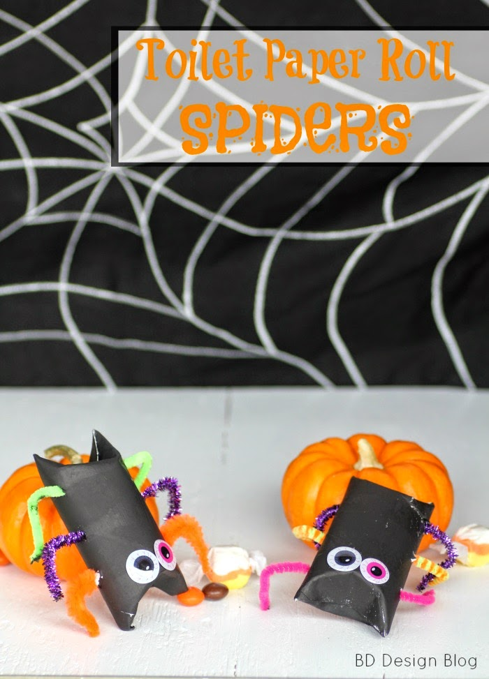 Whip up these Toilet Paper Roll Spiders for Halloween parties!