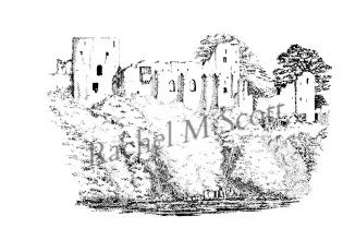Barnard Castle stipple illustration by Rachel M Scott