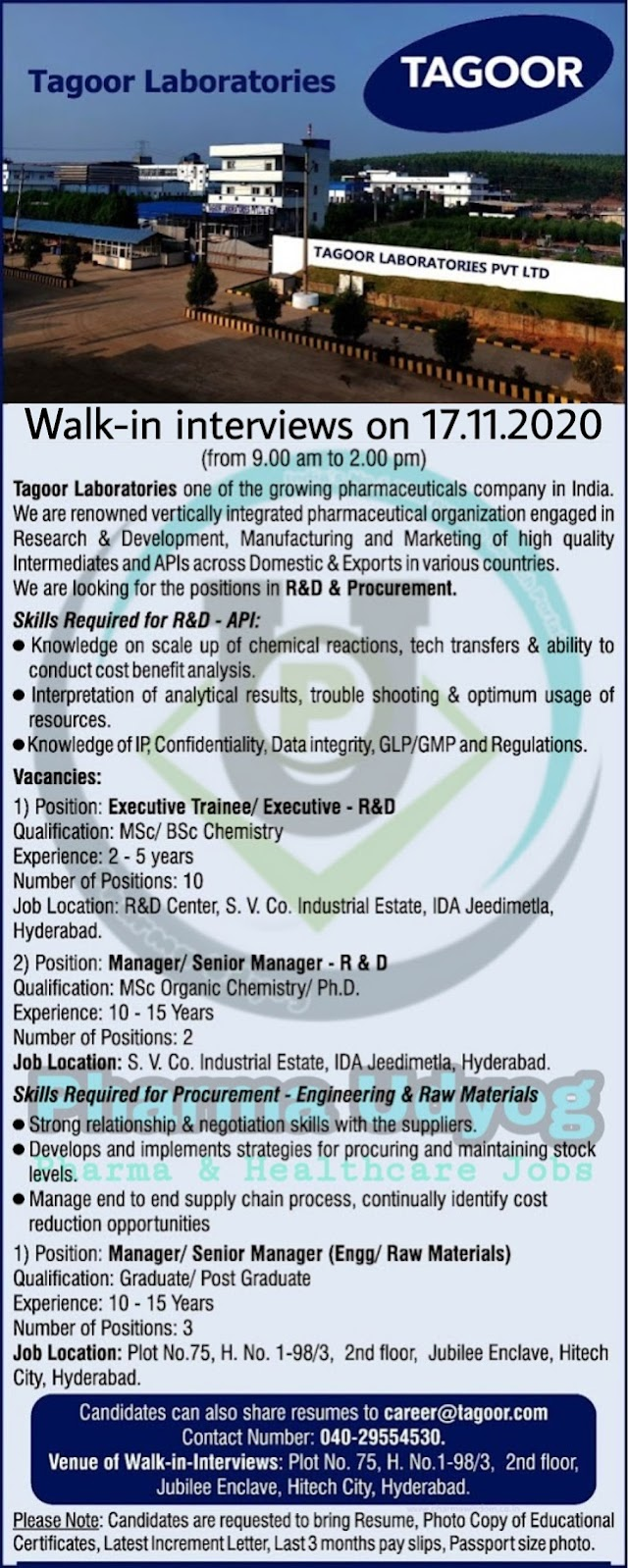 Tagoor Laboratories | Walk-In for R&D / Procurement (Engineering / Raw Materials) on 17th Nov 2020 at Hyderabad