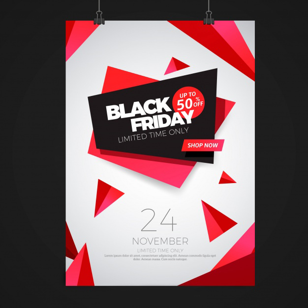 Black friday poster with abstract shapes Free Vector