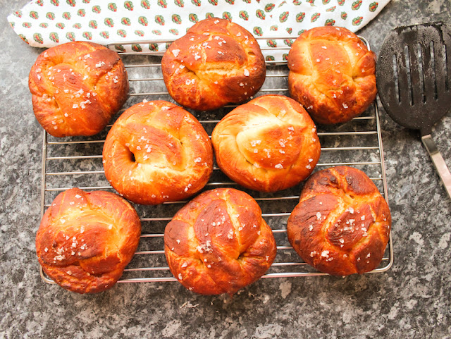 Food Lust People Love: Soda bread dough, dipped in baked-baking-soda water, turns into the most delightful (and easy!) treats I'm naming double soda pretzels. Brushed with melted butter and sprinkled with salt before baking, they are a warm, wonderful snack.
