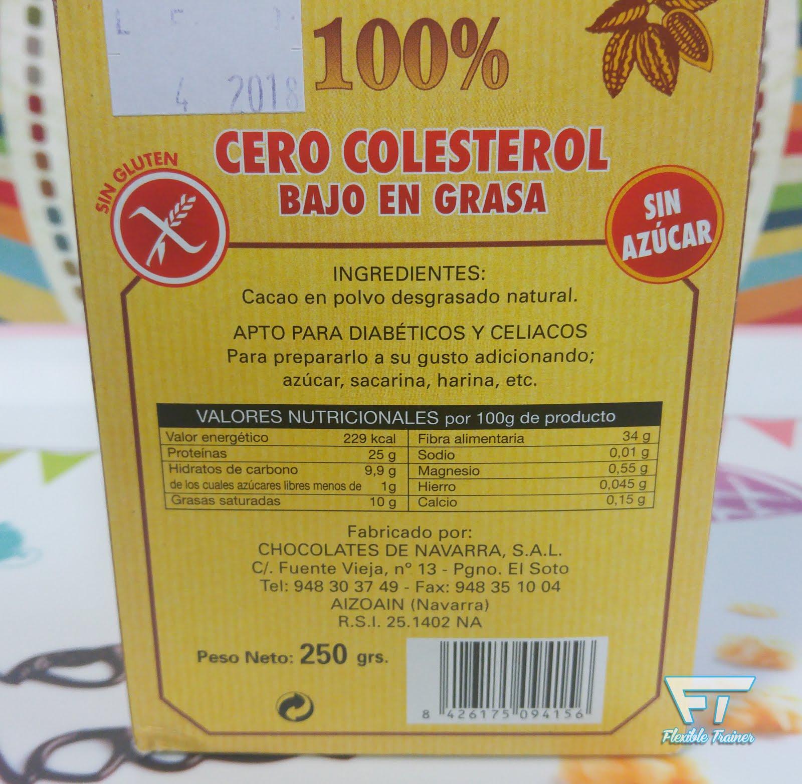 cacao puro en polvo valor nutricional
