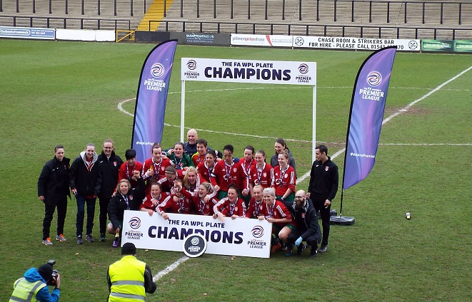 5b9857ee5d Coventry United Ladies, celebrating winning the FAWPL Plate Final